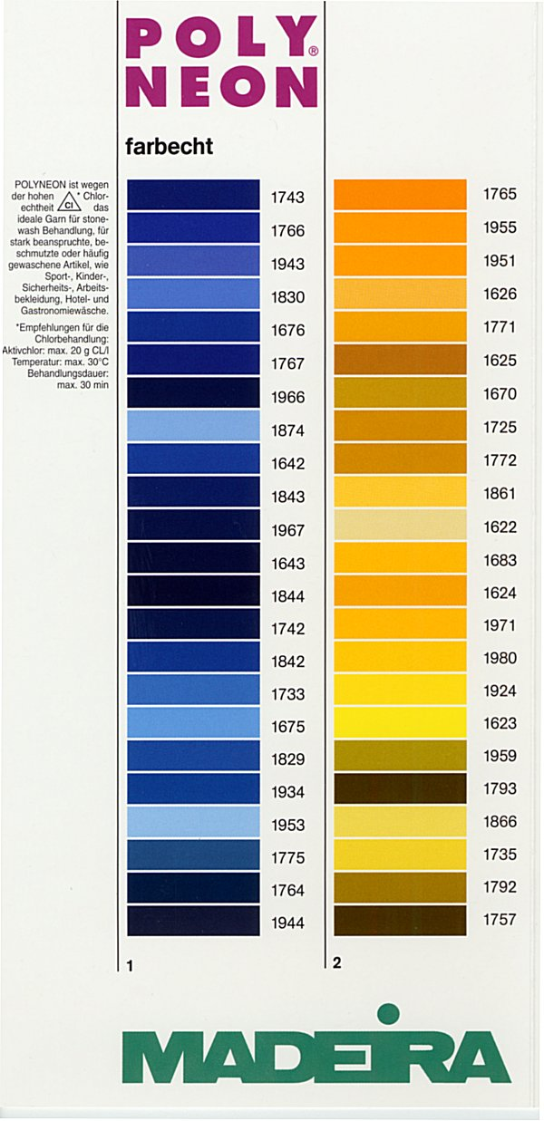 Madeira thread chart color list