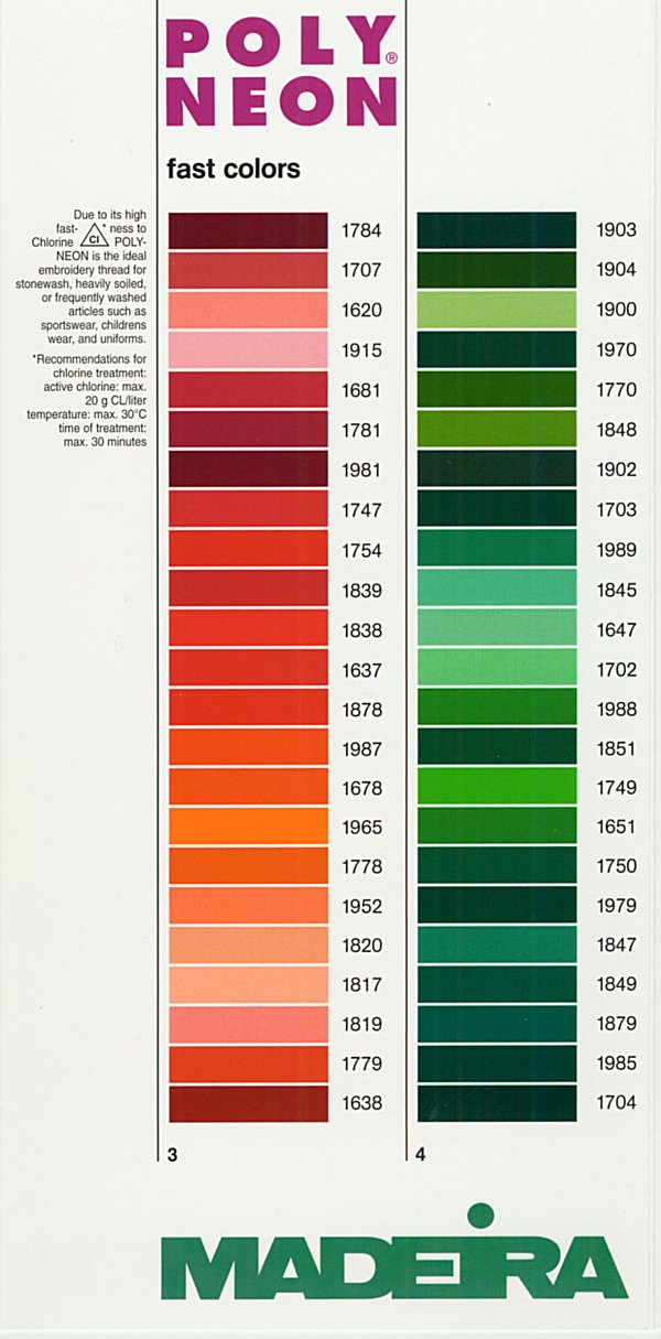 this is to be used as a basic point of reference for accurate color representaion please order the thread charts for this thread - Madeira Color Chart